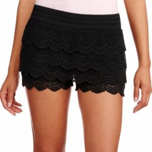 Pants - Elastic Waist Crochet-tiered Shorts
